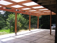 Redwood Pergola with Shade Cloth
