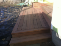 Redwood entryway deck