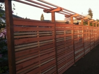 Horizontal Style Privacy Fence with Trellis